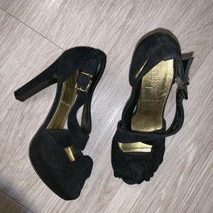 J.Crew Love Me Knot Suede Platform Heels 5 Black